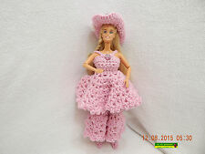 BARBIE DOLL-WITH CROCHETED/HANDMADE COWGIRL OUTFIT IN PINK-ADDED BLING-AS IS!