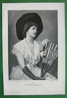 LOVELY MAIDEN Holding Fan Hat Pensive Memory - VICTORIAN Era Original Engraving