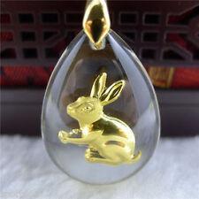 New Fashion 999 24K Yellow Gold & Crystal Blessing Rabbit Pendant