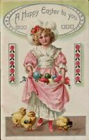 Antique Postcard Tuck's  Girl in Pink Dress Chicks Colored Eggs 1910