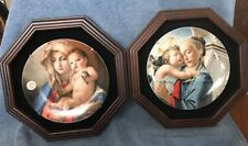 Vintage Annual Christmas Stamps Art Plates 1982 And 1981 With Wall Mount Holders