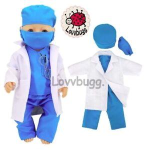 "Blue Scrubs w Lab Coat for 18"" American Girl, Boy & Baby LOVVBUGG TRU US SALE 🐞"