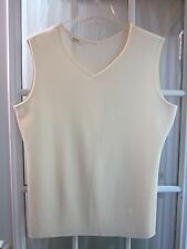 Authentic Daks Ivory V-Neck Sleevless Acrylic Knit Top Women L(Asia Size 100)**