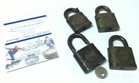 VINTAGE YALE PADLOCK LOT OF 4 DIFFERENT RAILROAD SIGNAL LOCK WITH KEY BRASS