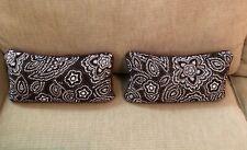 Two Target Pillows by Isaac Mizrahi, Brown & White Paisley Pattern