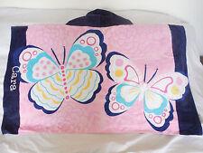 "Pottery Barn Kids Butterfly Pink Blue Beach Wrap ""Cara"" Bath Nwot"