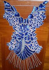 "15"" blue Sequin Pearl Bodice bead Applique belly dance dancewear NEW handmade"