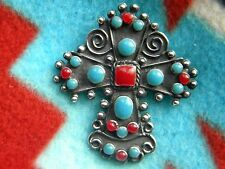 & Blue Stones. 2 Inches High Sterling 925 Mexican Cross Pin-Pendant With Red