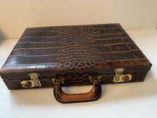 Vintage Upjohn Top Grain Leather Doctors Brief Case Alligator Pattern