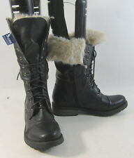 """Black 1.5""""low block heel Combat fur lace up Winter mid-calf sexy boots size 8.5"""