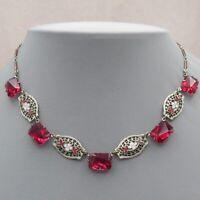 Vtg Art Deco Rhodium Plate Filigree Cherry Red Glass Enamel Flower Necklace