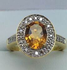 18ct Yellow Gold .20ct Diamond And Citrine Ring Size M