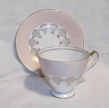 Royal Seagrave 3 tea cups 4 saucers plates England gilt peach pattern bone china