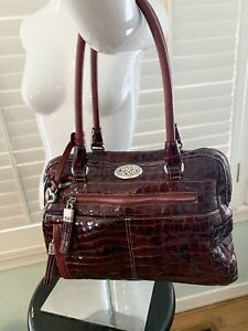 Brighton Purse Croco Patent Leather Ruby Red Satchel Handbag Large Size SWEET!!