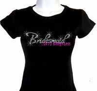 Bridesmaid Rhinestone Iron on T-Shirt - Pick Size S-3XL - Bling Top Bridal Bride