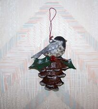 Bird Pine Cone Chickadee Christmas String Ornament Metal Regal Art