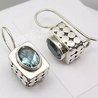 925 Solid Silver Fabulous BLUE TOPAZ Gem HANDCRAFTED Box Dangle Earrings 0.8""