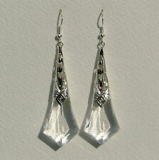 LARGE CLEAR FACETED ACRYLIC SILVER PLATED ART DECO STYLE FILIGREE EARRINGS HOOK