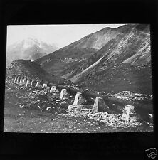 Glass Magic lantern slide AUTOFAGUSTA WATER PIPE IN ANDES  C1910 CHILE