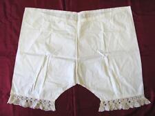 19C. Antique Ladies Unused Cotton Long Underwear With Lace