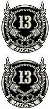 LUCKY 13 STICKER BIKER ROCKABILLY WINGS & PISTONS STICKERS PAIR