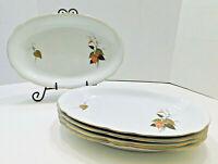 Set 5 Vintage Large Oval Platters Plates Porcelain Gold 9 x 13 Holiday Serving