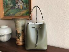 Lauren Ralph Lauren Dryden Debby Medium Leather Drawstring Bag  Color- Sage