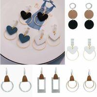 Fashion Women Geometric Heart Leather Hook Drop Dangle Earrings Jewelry Party