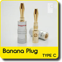 Hi-Fi Banana Plugs (2x) - 4mm Gold Plated Speaker /Amp wire connectors (BP102)