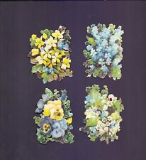 4 Nice Vintage Scraps,Flowers Largest aprox 75 x 60 mm all scanned (RB 59)