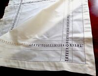 Vintage Drawn Thread Work Buttermilk Cream Cotton Table Cloth 36x34 Inches