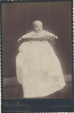CABINET CARD PORTRAIT OF WIDE-EYED BABY IN TALL HIGH-CHAIR -LUNDYS LANE, PA