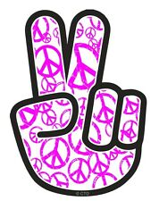 Pink PEACE Hand with Hippy Style Motif Car Sticker Decal fits VW Camper Van etc