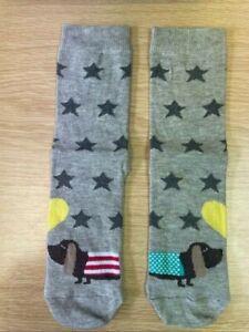 Ladies/Girls 1 Pair Sausage Dog Design Ankle Sock - Ladies shoe size 4-7