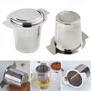 Stainless Steel Mesh Tea Infuser Metal Cup Strainer Loose Leaf Filter W/Lid