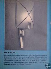 PUBLICITÉ 1955 LUNEL APPLIQUE MURALE LUMINAIRES LAMPADAIRE LAMPES - ADVERTISING