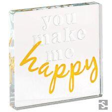 Spaceform Miniature Glass Token You Make Me Happy Xmas Love Gift Present 1907
