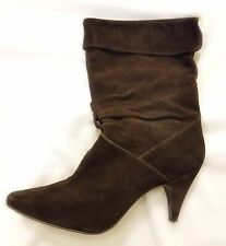Women's Nine West Boots Size 8.5 Drifter Brown Mid Calf Footwear Shoe Suede Heel