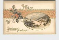 PPC POSTCARD CHRISTMAS WINSCH GREETINGS HOLLY SNOW COVERED MOUNTAIN EMBOSSED