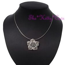 Textured Rose Flower Floral Silver Choker Pendant Necklace w/ Swarovski Crystals