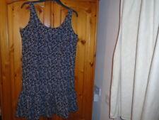 Black and white pattern drop waist knee length summer dress, size 14
