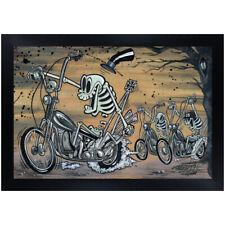 Bone Percenter by Shawn Dickinson Skeleton Biker Gang Cartoon Framed Art Print