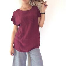Camicia bianca no brand romantica viscosa over rosa color bordeaux burgundy vin