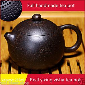 authentic yixing zisha teapot marked ball shaped infuser holes black galaxy clay