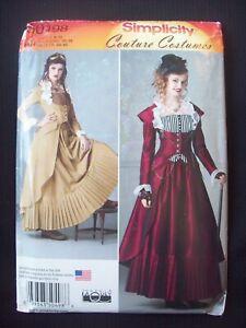 Simplicity Pattern S0498 18-19th Century Dress Steampunk Sizes 6-8-10-12 UC/NOS