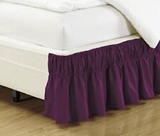 MK Collection Wrap Around Style Easy Fit Elastic Bed Ruffles Bed-skirt Dark #2of