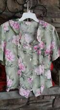 Womens Jaclyn Smith Blouse Floral Print, Size Small, Runs Big, Back Tie, SS