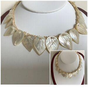 Vintage Art Deco Mother Of Pearl Carved Leaf Necklace Choker