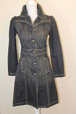 TWENTYONE 21 Sz Small 100% Cotton Dark Wash Long Denim Jean Jacket/Dress Coat