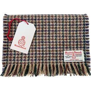 Harris Tweed Glen Houndstooth Pure Wool Luxury Unisex Fringed Scarf